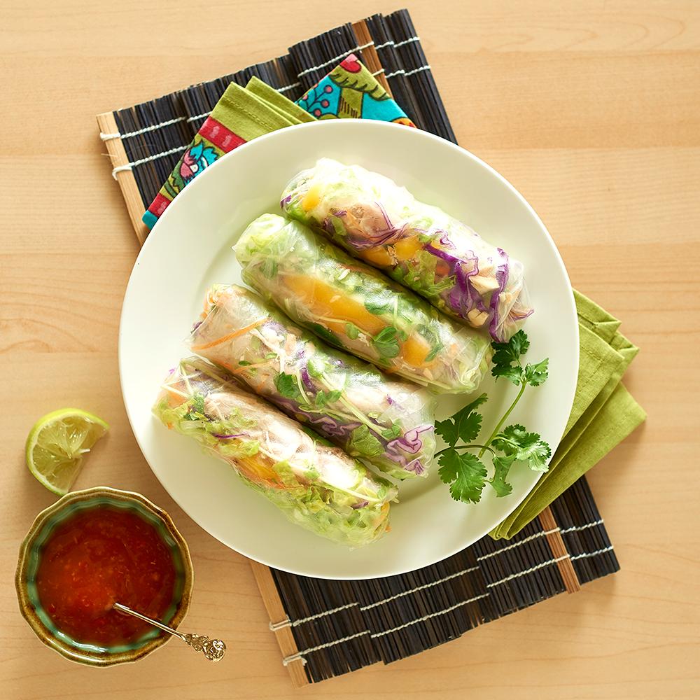 Mango & BBQ chicken rice paper rolls - Healthier. Happier.