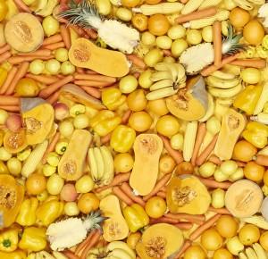 Yellow fruit and veggies