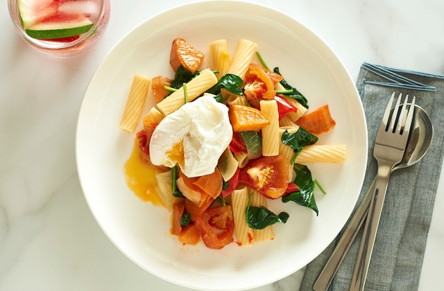Pasta and Roasted Veg with poached Egg - Healthier. Happier.