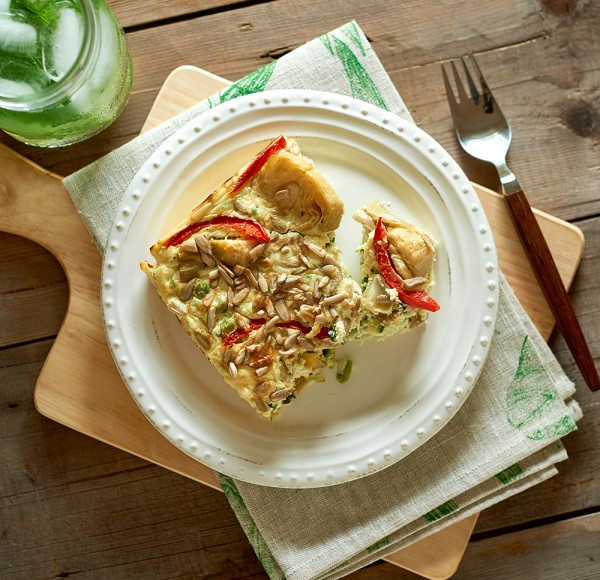 Zuchini Artichoke and rice slice