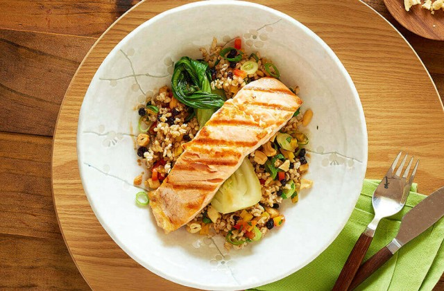 Grilled Salmon With Brown Rice Salad Happier Healthier Queensland
